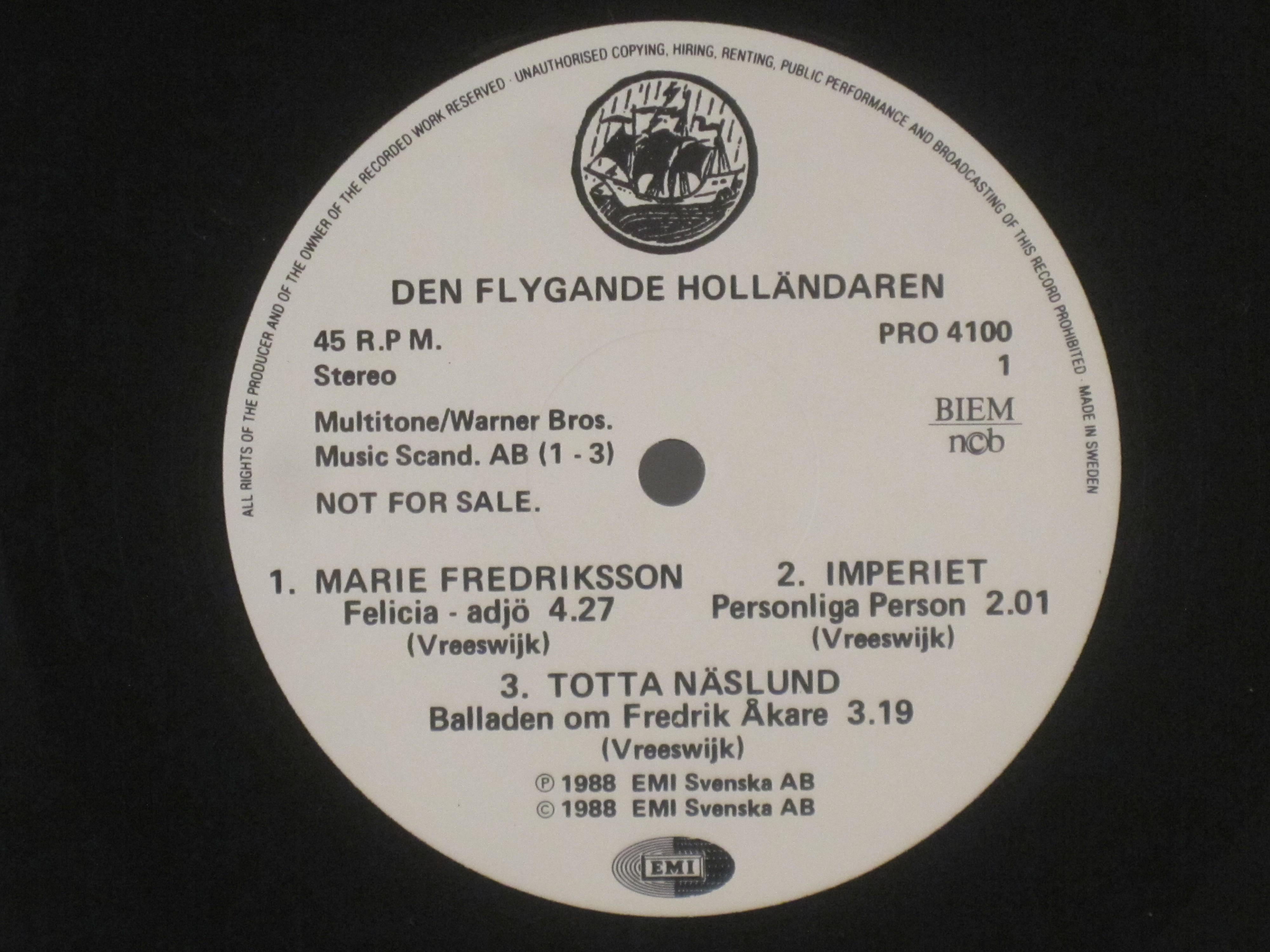MARIE FREDRIKSSON : Felicia - adjö / MARIE FREDRIKSSON & ELDKVARN : Somliga går med trasiga skor / + 3 with 3 other artists