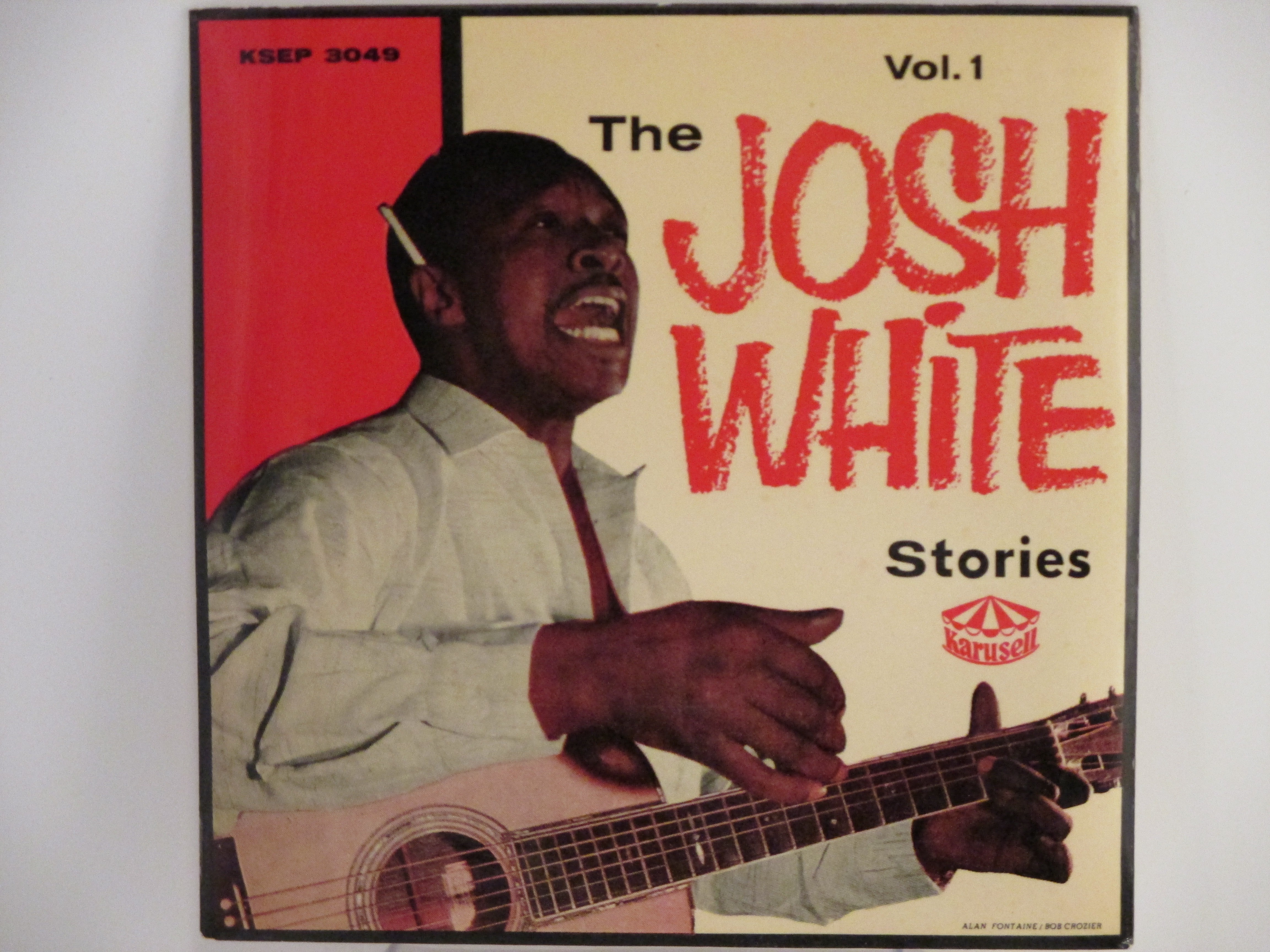 """JOSH WHITE: (EP) """"The Josh White stories Vol.1"""" : Watcha' gonna' do when the meat gives out? / Water cress / Nobody knows you when you're down and out / Hard times blues"""